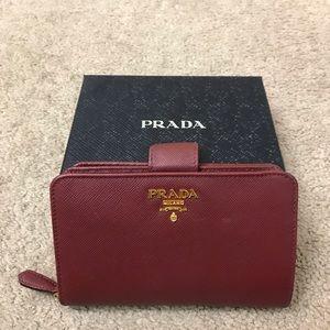 Used red Prada Saffiano wallet